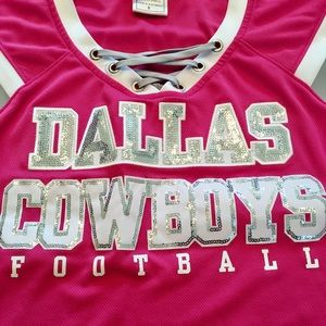 7b7b24f7b Dallas Cowboys Tops - Dallas Cowboys Pink Lace Up Bling Jersey Small