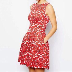 Closet Dresses & Skirts - ASOS red/white damask dress w/ pockets