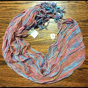 🍭Multicolored & Metallic Fringe Scarf