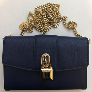 Patrizia Pepe Handbags - Patrizia Pepe Navy Saffiano Wallet on a Chain