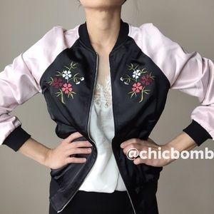 CHICBOMB Jackets & Blazers - Silk satin bomber floral jacket.