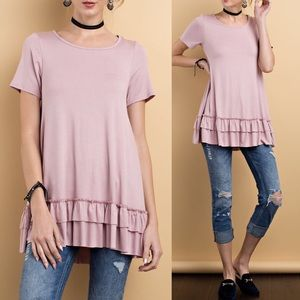 Pink Peplum Boutique Tops - 🆕 Short sleeve mauve ruffle hem comfy tunic top