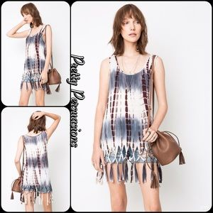 Pretty Persuasions Tops - NWT Gray Tie Dyed Fringe Hem Jersey Tank Top Tunic