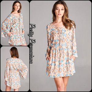 Pretty Persuasions Dresses & Skirts - NWT Taupe Floral Print Lace Up Bell Sleeve Dress