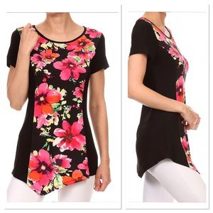 Black Floral Scoop Neck Tunic, NWOT