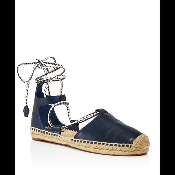 cf71a5e2aab2 TORY BURCH POSITANO LACE-UP ESPADRILLE BLUE SIZE 8