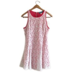 buttons Dresses & Skirts - Buttons pink and white lace zip down dress