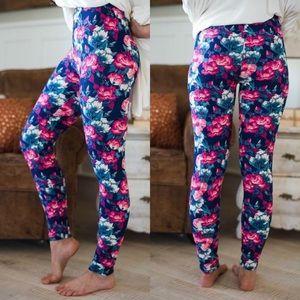 Pink Floral Soft Brushed Knit Leggings