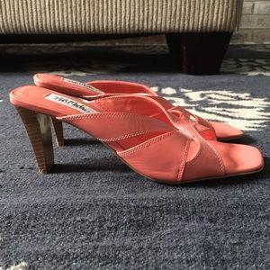 Bob Mackie Shoes - {BOB MACKIE} CORAL SLIDE SANDALS WITH HEEL EUC