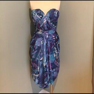 Badgley Mischka Dresses & Skirts - Badgley Mischka floral silk strapless dress size 4