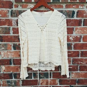 Tops - Cream Lace Long Sleeve Blouse
