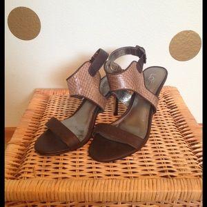 LOFT Shoes - Snake skin print ankle strap heels