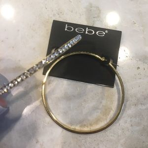 bebe Jewelry - Bebe large gold rhinestone hoop earrings