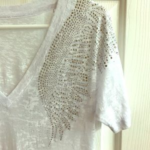 Tops - Rhinestone Burnout Tee