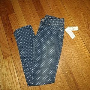 NWT bullhead black skinniest polka dot jeans