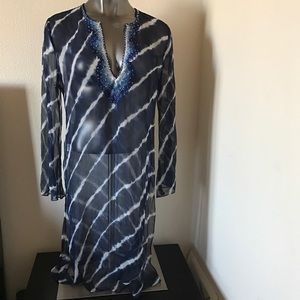 BCBGMaxAzria Tops - BCBG Maxazria Blue Tie-dye Tunic Cover-up