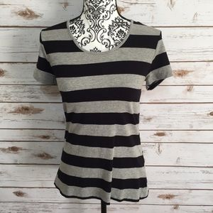 French Connection Black & Gray Striped Top
