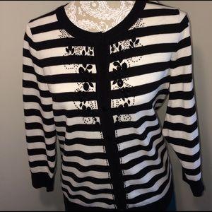 New - Talbot's Striped Cardigan - Cotton/Beading