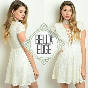 Bella Edge Dresses & Skirts - Ivory lace overlay lace up dress