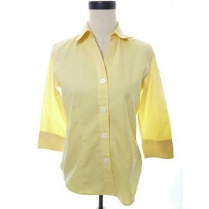 Foxcroft Yellow Button Down Shirt SIze 4
