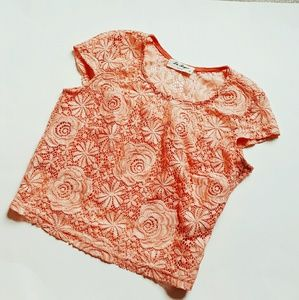 Tops - Lace & coral crop top!