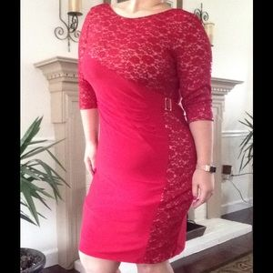 R & M Richards Dresses & Skirts - Red/Taupe Dazzling Dress