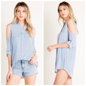 Boutique Tops - Chambray Stripe Cold Shoulder Button Top S M L