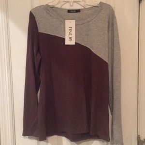 Finejo Tops - NWT Finejo Brown and Gray Top Size Large