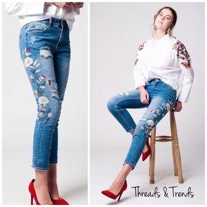 Threads & Trends Denim - RESTOCKED 🌸DistressedEmbroidered Jeans