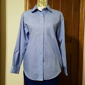 Foxcroft Tops - Foxcroft fitted, wrinkle-free shirt, French blue