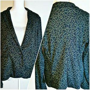 Olivia Moon Jackets & Blazers - Olivia Moon Knit Blazer - Animal Print