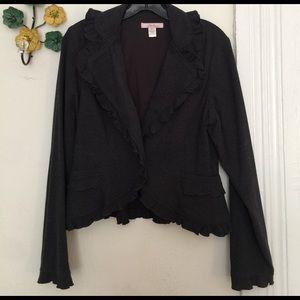 Jackets & Blazers - Sassy, charcoal blazer with ruffles.