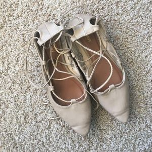 GUC nude Old Navy lace up pointed toe flats