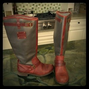 Caterpillar Shoes - CAT rusty red and grey leather boots! 5.5