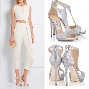 Jimmy Choo Shoes - Jimmy Choo Lana Silver Glitter Fabric T-Bar Sandal