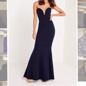 Missguided Dresses & Skirts - Navy Blue Scuba Formal Dress