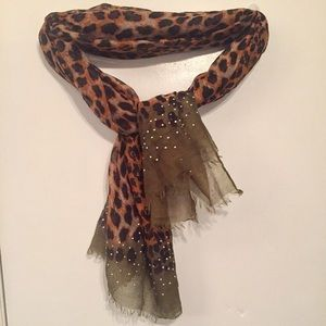 Leopard print wrap scarf
