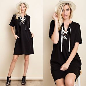 JACLYN lace up dress - BLACK
