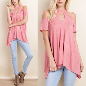 CELIA cold shoulder top - ROSE PINK