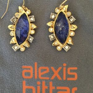 Alexis Bittar Jewelry - Alexis Bittar Earrings Blue Gold with Crystals