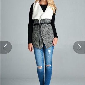 Faux Fur Vest with Belt!