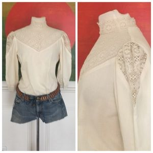 Awesome VINTAGE crochet Boho festival Blouse top
