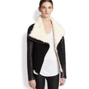 Helmut Lang Draped Shearling Collar Leather Jacket