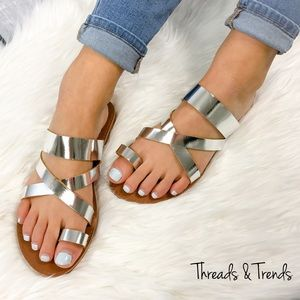 Threads & Trends Shoes - Metallic Silver Sandals