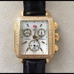 Michele Accessories - Michele Diamond Deco Yellow Gold Watch Black Strap