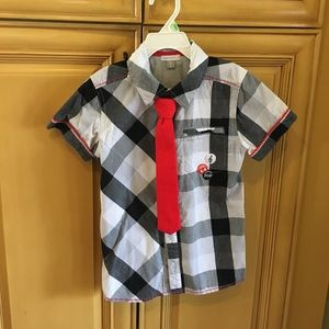 Petit Lem Other - Boys size 6 button down shirt with Velcro tie