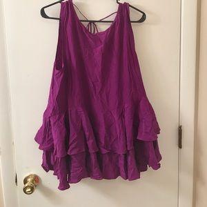 Karen Zambos Tops - Karen Zambo purple silk low back blouse Sm likenew