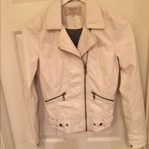 Zara Jackets & Blazers - Zara Off White Faux Leather Jacket