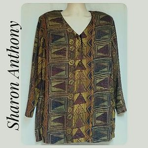Sharon Anthony Tribal Print Tunic Top Size 18W