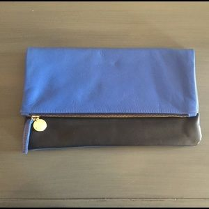 Clare Vivier Handbags - Clare V. Black and blue fold over leather clutch